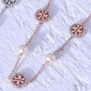 Tory Burch Rose Gold Crystal Logo Pearl Necklace
